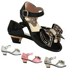GIRLS CHILDREN KIDS PARTY LOW HEELS WEDDING BIRDESMAID SANDALS SHOE 7-3