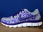 NIKE FREE 5.0 V4 PURPLE Grey White CHEETAH LEOPARD PRINT tr fit 3 Roshe run 6 7