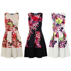 Womens Neon Floral Print Panel Block Hem Sleeveless Party Pleated Skater Dress