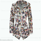 Ladies Plus Sizes Festival Mac Floral Fish Tail Parka Waterproof Hood Rain Coat