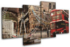 London Vintage Collage City MULTI CANVAS WALL ART Picture Print VA