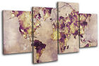 Watercolour  Abstract Maps Flags MULTI CANVAS WALL ART Picture Print VA