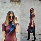 ZARA NEW COLLECTION 2015. RED BURGUNDY FAUX LEATHER DRESS. BLOGGERS.