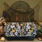NEW Blue/Yellow floral Fabric Bird Cage Skirt or Cover Seed Catcher Guard XS-XXL