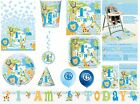 1st FIRST BIRTHDAY BOY PARTY TABLEWARE DECORATIONS BALLOONS BLUE SAFARI JUNGLE
