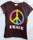 WALLFLOWER 100% COTTON Black Short Sleeve PEACE SYMBOL Tee GIRL SIZES NWT
