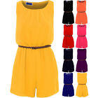 Womens Sleeveless Belted Pleated Chiffon Sexy Smart Zip Back Lined Playsuit