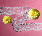 """5 Yards Lace Trim White Hearts 1"""" Scalloped R81AV Added Items Ship No Charge"""