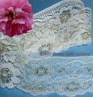 """4 Yards Lace Trim Gold Ivory Floral 3"""" Scalloped D46V Added Items Ship No Charge"""