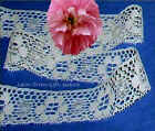 """5 Yds Lace Trim Ivory Woven 1-1/8"""" Floral Picot J30V Added Items Ship No Charge"""