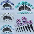 32Pc Gauges Acrylic Spiral Ear Taper Stretcher Tunnels Plugs Stretching Kits Set