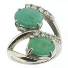 .925 Sterling Silver 2.65 Ct Emerald & CZ Ring