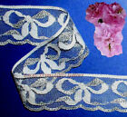 "4 Yd Lace Trim Silver Bows 2"" Wedding Scalloped H06CV Added Items Ship No Charge"
