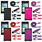 LG Optimus F3 LS720 Diamond Studded Hybrid Shock Proof Case USB Cable Stylus Kit