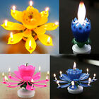 Happy Birthday Magical Amazing Blossom Lotus Musical Rotating Candle Flower Gift