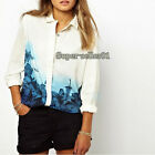 New Gift Europe Style Womens Flower Print Chiffon Long Sleeve Blouse T-shirt Top
