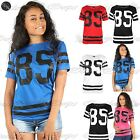 Womens Ladies Celebrity Oversized Varsity 85 Print Casual Baseball T-Shirt Top