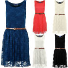 Womens Franki Celeb Belted Sleeveless Floral Mesh Lace Lined Party Skater Dress