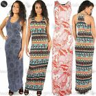 Womens Ladies Printed Muscle Racer Back Stretchy Jersey Long Vest Maxi Dress