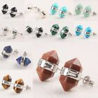 Agate Quartz Crystal Gemstone Hexagonal Prism Healing Point Chakra Stud Earring