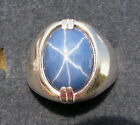 MENS 16X12mm 9+ CT LINDE LINDY CRNFLWR BLUE STAR SAPPHIRE CREATED SECOND RING SS