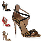 WOMENS BUCKLE STRAPPY LADIES CUT OUT PEEP TOE STILETTO HIGH HEEL SHOES SIZE 3-8