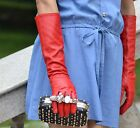 """40cm(15.7"""")long leather evening/elbow len genuine leather plain style gloves red"""