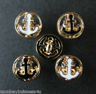 5 -Metal Novelty Buttons - Tiny Anchor round - 10mm - Nautical - Knitting/Sewing