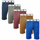 Mens Shorts Smith & Jones Rig Chino Pants ¾ Length Combats With Free Canvas Belt