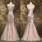 Sexy Mermaid SEQUINS Wedding Bridal Evening Gown Party Formal Long Prom Dresses