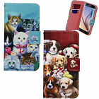 DOG CAT PUPPY KITTY ANIMAL FLOWER PU LEATHER WALLET CASE COVER FOR MOBILE PHONES
