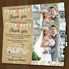 Personalised Wedding Day Thank you Cards & Envelopes *Tandem Bike Bunting