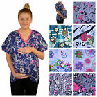 Beverly Hills Uniforms Medical Scrub Maternity Top Uniform Choose Size & Print