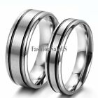couples rings - Silver Stainless Steel Black Strips Couples Wedding Prosime Ring Engagement Band