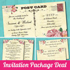 Package Deal: Wedding Invitation, RSVP Card & Gift Poem Card *Postcard Pink