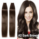 New PU Seamless Skin Tape in Remy Human Hair Extensions #2 Dark Brown Any Length