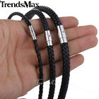 "16-22"" MENS WOMEN BOY 4/6/8mm Black Braided Rope Man-made Leather Chain Necklace"