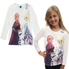 Girls Ruched Long Sleeved Top Frozen New Kids Anna Elsa Tee Cotton Olaf T Shirt