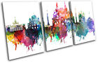 Moscow Watercolour  Abstract City TREBLE CANVAS WALL ART Picture Print VA