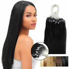 "16""-26""Micro Ring Beads Loop Tip Remy Human Hair Extensions Straight Jet Black"