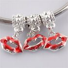 Sexy Red Lips Kiss Enamel Beads Silver Plated Fit European Charm Bead Pendant