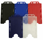 Vertical Portrait Double Sided Plastic Rigid ID Card Badge Holder Free Postage