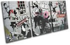 Montage Collage Banksy Street TREBLE CANVAS WALL ART Picture Print VA