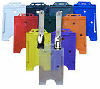 Vertical Plastic Rigid ID Pass Card Badge Holder with Crocodile Badge Clip Free
