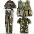 BOYS ARMY OUTFIT KIDS TROUSERS T-SHIRT VEST HELMET BTP MTP SOLDIER FANCY DRESS