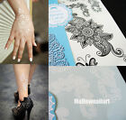 HOT  Design 1pc White / Black Henna Ink Lace Temporary Tattoo Inspired Sticker
