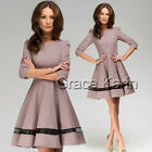 WOMENS 40's 50's RETRO VINTAGE ROCKABILLY TEA DRESS 3/4 SLEEVE KNEE LENGTH M-XL