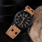 Vintage Men Watches  Waterproof Date Leather Strap Sport Quartz Army Watch New