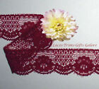 """5 Yds Lace Trim Maroon Floral 1-3/8"""" Scalloped R149V Added Items Ship No Charge"""