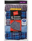 5 Pack Hanes Men's Covered Waistband Woven Plaid Boxer Assorted Colors S - 2XL